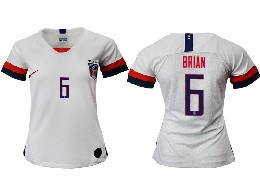 Women 19-20 Soccer Usa National Team #6 Brian White Home Short Sleeve Thailand Jersey