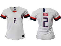 Women 19-20 Soccer Usa National Team #2 Pugh White Home Short Sleeve Thailand Jersey