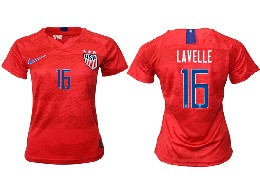 Women 19-20 Soccer Usa National Team #16 Lavelle Red Away Short Sleeve Thailand Jersey