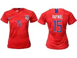 Women 19-20 Soccer Usa National Team #15 Rapinoe Red Away Short Sleeve Thailand Jersey