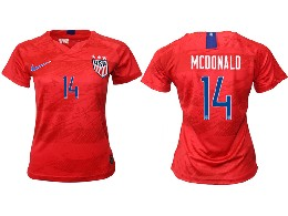 Women 19-20 Soccer Usa National Team #14 Mcdonald Red Away Short Sleeve Thailand Jersey