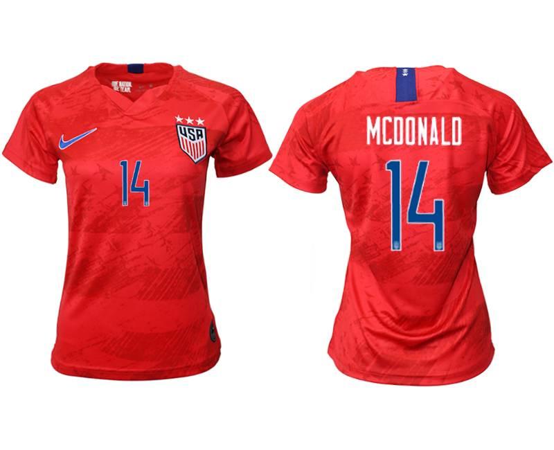 Women 19-20 Soccer Usa National Team #14 Mcdonald Red Away Short Sleeve Thailand Jersey