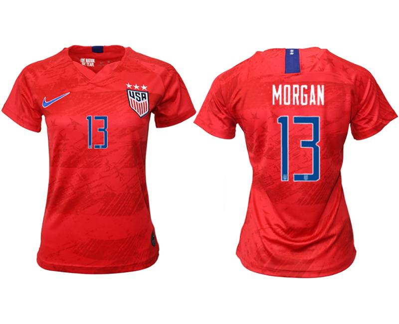 Women 19-20 Soccer Usa National Team #13 Morgan Red Away Short Sleeve Thailand Jersey