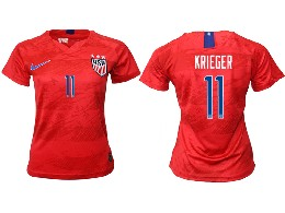 Women 19-20 Soccer Usa National Team #11 Krieger Red Away Short Sleeve Thailand Jersey