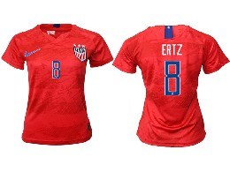 Women 19-20 Soccer Usa National Team #8 Ertz Red Away Short Sleeve Thailand Jersey