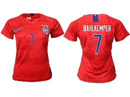 Women 19-20 Soccer Usa National Team #7 Dahlkemper Red Away Short Sleeve Thailand Jersey