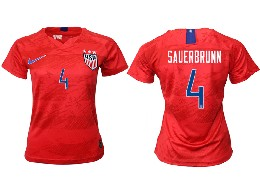 Women 19-20 Soccer Usa National Team #4 Sauerbrunn Red Away Short Sleeve Thailand Jersey