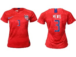 Women 19-20 Soccer Usa National Team #3 Mewis Red Away Short Sleeve Thailand Jersey