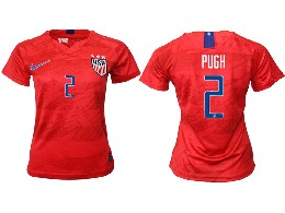 Women 19-20 Soccer Usa National Team #2 Pugh Red Away Short Sleeve Thailand Jersey