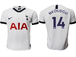 Mens 19-20 Soccer Tottenham Hotspur Club #14 Nkoudou White Home Thailand Jersey