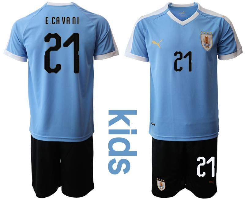 Kids 19-20 Soccer Uruguay National Team #21 Edinson Cavani Blue Home Short Sleeve Suit Jersey