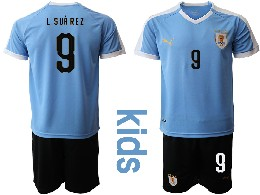 Youth 19-20 Soccer Uruguay National Team #9 L.suarez Blue Home Short Sleeve Suit Jersey