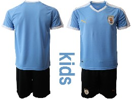Youth 19-20 Soccer Uruguay National Team ( Custom Made ) Blue Home Short Sleeve Suit Jersey