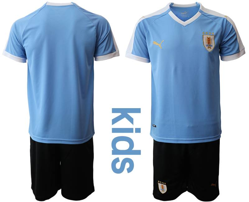 Kids 19-20 Soccer Uruguay National Team ( Custom Made ) Blue Home Short Sleeve Suit Jersey