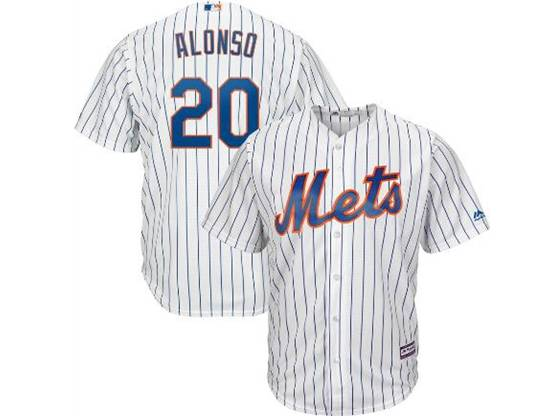 Mens 2019 Mlb New York Mets #20 Pete Alonso White Stripe Cool Base Player Jersey
