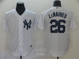 Mens Mlb New York Yankees #26 Dj Lemahieu White Stripe Cool Base Jersey