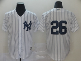 Mens Mlb New York Yankees #26 Dj Lemahieu White Stripe Cool Base Jersey(no Name)