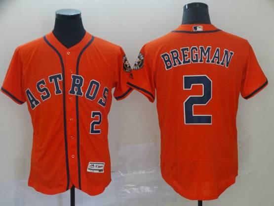 Mens Mlb Houston Astros #2 Alex Bregman Orange Flex Base Player Jersey