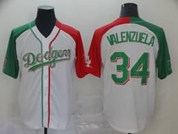 Mens Majestic Los Angeles Dodgers #34 Fernando Valenzuela White Half Edition Cool Base Jersey