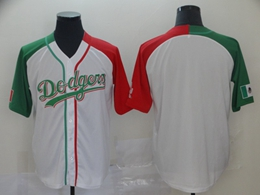 Mens Majestic Los Angeles Dodgers Blank White Half Edition Cool Base Jersey