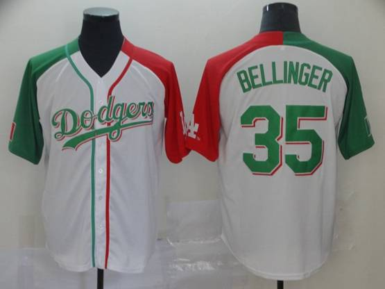 Mens Majestic Los Angeles Dodgers #35 Cody Bellinger White Half Edition Cool Base Jersey