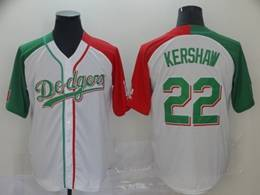 Mens Majestic Los Angeles Dodgers #22 Clayton Kershaw White Half Edition Cool Base Jersey