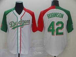 Mens Majestic Los Angeles Dodgers #42 Ackie Robinson White Half Edition Cool Base Jersey