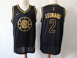 Mens Nba Los Angeles Clippers #2 Kawhi Leonard Black Gold Collection Limited Edition Jersey