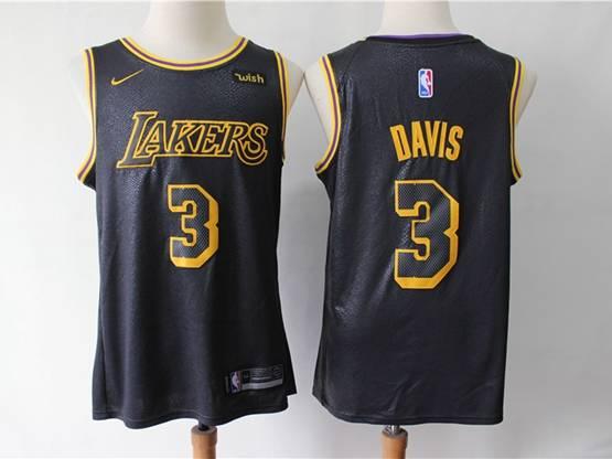 Mens 2019 New Nba Los Angeles Lakers #3 Davis Black City Edition Swingman Nike Jersey