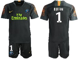 Mens 19-20 Soccer Paris Saint Germain #1 Buffon Black Goalkeeper Short Sleeve Suit Jersey
