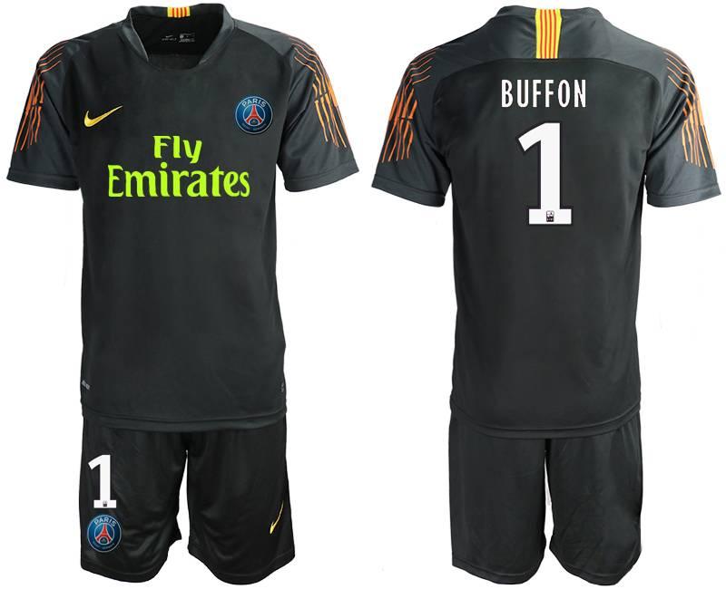 Mens 19-20 Soccer Paris Saint Germain #1 Buffon Black Goalkeeper Short Sleeve Suit Jersey