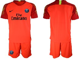 Mens 19-20 Soccer Paris Saint Germain ( Blank ) Red Goalkeeper Short Sleeve Suit Jersey