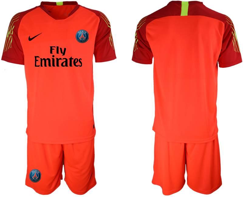 Mens 19-20 Soccer Paris Saint Germain ( Blank ) Red Goalkeeper Short Sleeve Suit Jersey