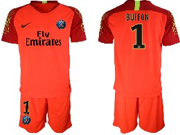 Mens 19-20 Soccer Paris Saint Germain #1 Buffon Red Goalkeeper Short Sleeve Suit Jersey