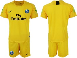 Mens 19-20 Soccer Paris Saint Germain ( Blank ) Yellow Goalkeeper Short Sleeve Suit Jersey