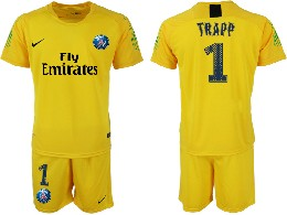 Mens 19-20 Soccer Paris Saint Germain #1 Buffon Yellow Goalkeeper Short Sleeve Suit Jersey