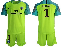 Mens 19-20 Soccer Paris Saint Germain #1 Buffon Green Goalkeeper Short Sleeve Suit Jersey