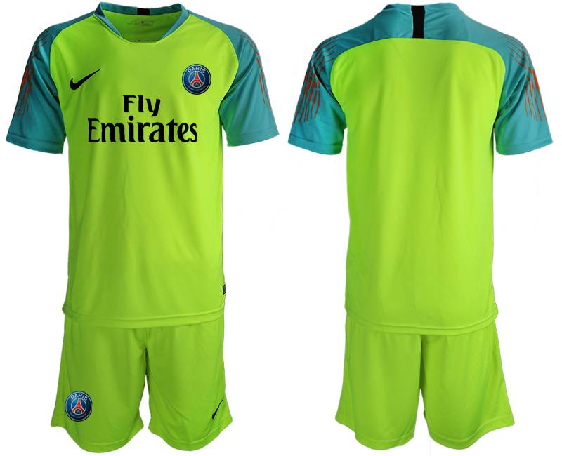 Mens 19-20 Soccer Paris Saint Germain ( Blank ) Green Goalkeeper Short Sleeve Suit Jersey