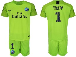 Mens 19-20 Soccer Paris Saint Germain #1 Buffon Fluorescent Green Goalkeeper Short Sleeve Suit Jersey