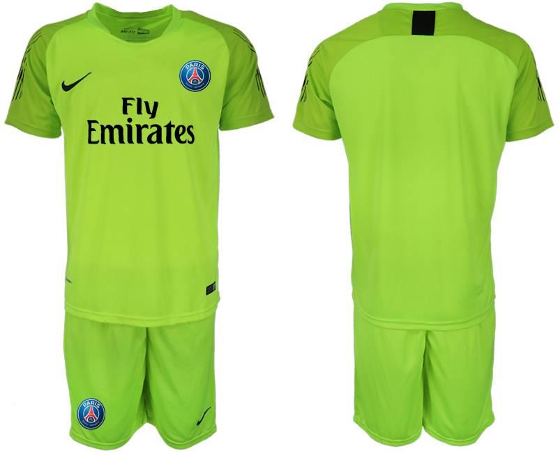 Mens 19-20 Soccer Paris Saint Germain ( Blank ) Fluorescent Green Goalkeeper Short Sleeve Suit Jersey