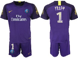 Mens 19-20 Soccer Paris Saint Germain #1 Buffon Purple Goalkeeper Short Sleeve Suit Jersey