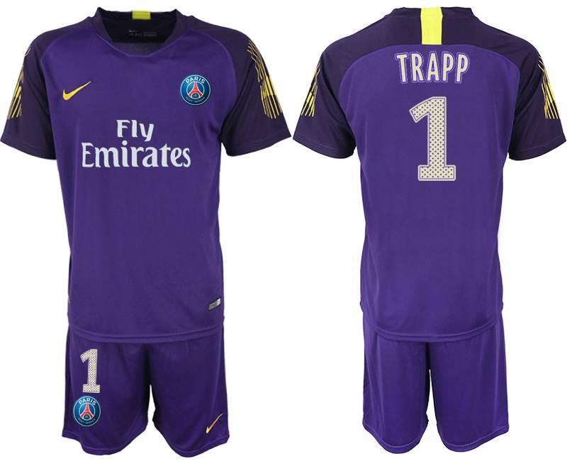 Mens 19-20 Soccer Paris Saint Germain #1 Buffon Purple Goalkeeper Short Sleeve Suit Jersey