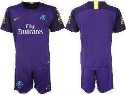 Mens 19-20 Soccer Paris Saint Germain ( Blank ) Purple Goalkeeper Short Sleeve Suit Jersey