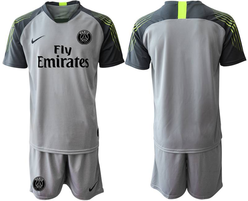 Mens 19-20 Soccer Paris Saint Germain ( Blank ) Gray Goalkeeper Short Sleeve Suit Jersey