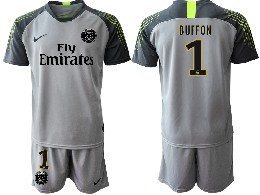 Mens 19-20 Soccer Paris Saint Germain #1 Buffon Gray Goalkeeper Short Sleeve Suit Jersey