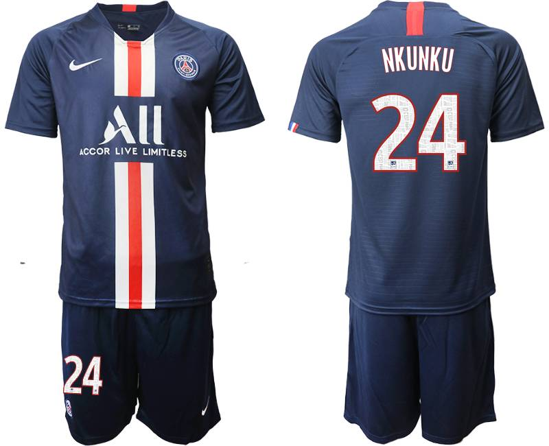 Mens 19-20 Soccer Paris Saint Germain #24 Nkunku Dark Blue Home Short Sleeve Suit Jersey