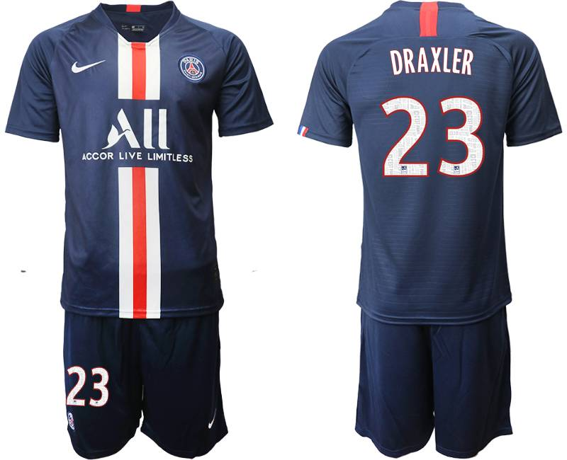 Mens 19-20 Soccer Paris Saint Germain #23 Draxler Dark Blue Home Short Sleeve Suit Jersey