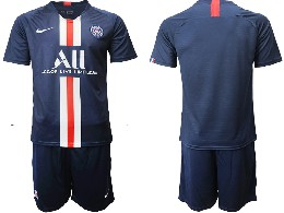 Mens 19-20 Soccer Paris Saint Germain ( Blank ) Dark Blue Home Short Sleeve Suit Jersey