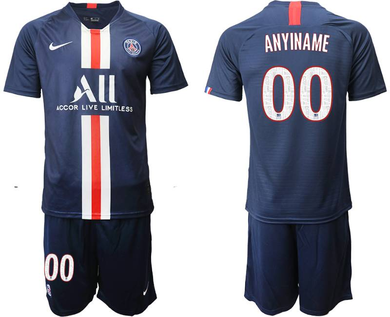 Mens 19-20 Soccer Paris Saint Germain ( Custom Made ) Dark Blue Home Short Sleeve Suit Jersey