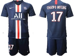 Mens 19-20 Soccer Paris Saint Germain #17 Choupo Moting Dark Blue Home Short Sleeve Suit Jersey